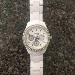 Fossil Caleigh Multifunction White Acetate Watch